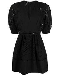 Alberta Ferretti Macramé-trimmed Dress - Black