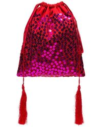The Attico Sequin Drawstring Pouch Bag - Red