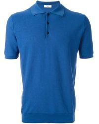 Fashion Clinic Fine Knit Shortsleeved Polo Shirt - Blue