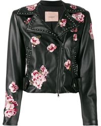 Twin Set Faux-leather Biker Jacket - Black