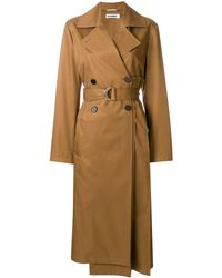 Jil Sander Pleated Back Trench Coat - Brown