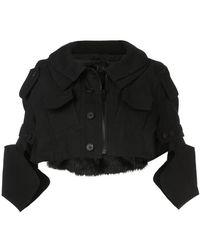 Vera Wang - Cropped Military Jacket - Lyst
