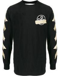 Off-White c/o Virgil Abloh T-shirt Met Lange Mouwen - Zwart