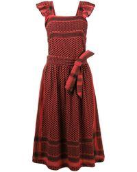 Cecilie Copenhagen Robe ceinturée imprimée - Rouge