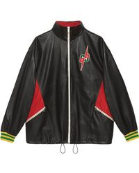 Gucci - Leather Bomber Jacket With GG Blade - Lyst