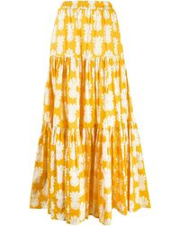 LaDoubleJ Big Tiered Cotton Skirt - Yellow