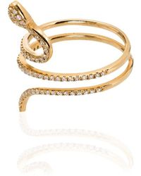 Rosa De La Cruz 18kt Gold Diamond Snake Ring - Metallic