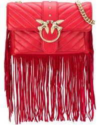 Pinko Love Fringed Crossbody Bag - Red