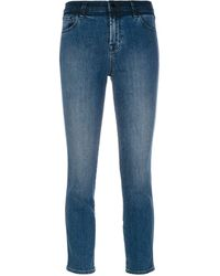 J Brand Cropped Slim Fit Jeans - Blauw