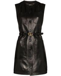 Gucci ノースリーブ レザードレス - ブラック