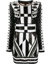 Balmain スパンコール ドレス - ホワイト