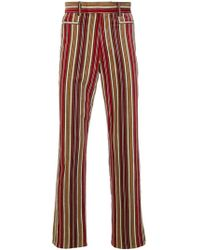 Jean Paul Gaultier Velvet Touch Stripped Trousers - Red