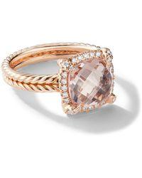 David Yurman 18kt Rose Gold Châtelaine Diamond And Morganite Ringpav - Multicolor