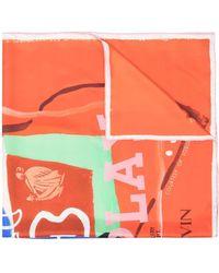 Lanvin ロゴ シルクスカーフ - レッド
