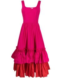 Alexander McQueen - Двухцветное Ярусное Платье С Оборками - Lyst