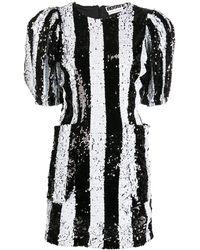 ROTATE BIRGER CHRISTENSEN ストライプ スパンコール ドレス - ブラック