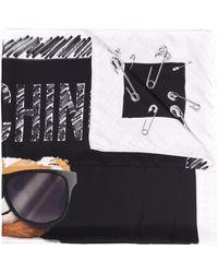 Moschino ロゴ シルクスカーフ - ブラック