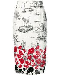 N°21 スパンコール ペンシルスカート - レッド