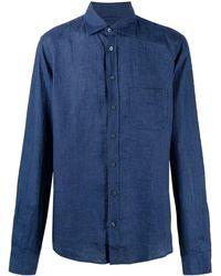 Sease ポインテッドカラー リネンシャツ - ブルー