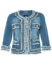 Guild Prime - Embellished Collarless Denim Jacket - Lyst