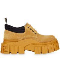Fendi Массивные Ботинки На Шнуровке - Желтый