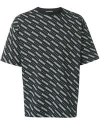 Balenciaga Camicia con logo Allover a righe - Nero