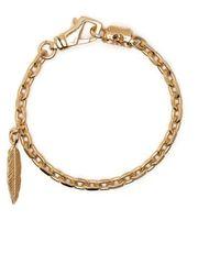 Emanuele Bicocchi Bracelet à pendentif de plumes - Métallisé