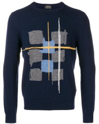 Z Zegna - Check Detail Sweater - Lyst