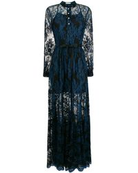 Three Floor Lace Detailed Dress - Blue