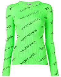 Balenciaga Свитер С Логотипом - Зеленый