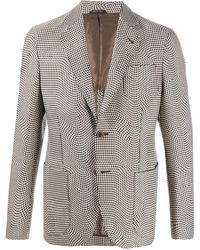 Giorgio Armani Houndstooth Single Breasted Blazer - Gray