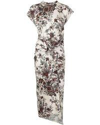 Paco Rabanne Платье Миди С Цветочным Принтом - Многоцветный