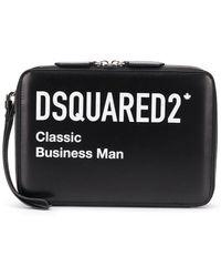 DSquared² Logo Leather Clutch - Black