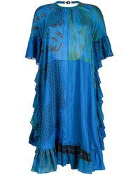 Marine Serre Open-back Ruffled Dress - Blue