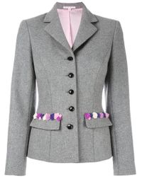 Olympia Le-Tan Flannel Embroidered Madeleine Jacket - Gray