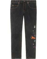 Gucci Embroidered Motif Slim-fit Jeans - Black