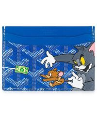 Goyard Logo Tom And Jerry Printed Cardholder - Blue