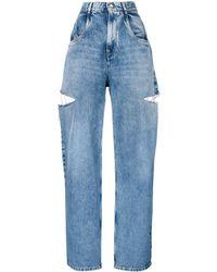 Maison Margiela Cutout Details Wide Jeans - Blue