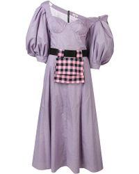 Natasha Zinko Checked Off-the-shoulder Dress - Purple