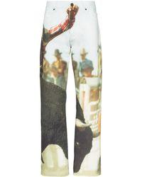 CALVIN KLEIN JEANS EST. 1978 Bull Landscape Straight Leg Jeans - Multicolour