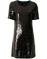 Armani Exchange スパンコールトリム ミニドレス - ブラック