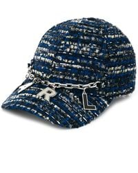 Karl Lagerfeld Tweed Cap With Chain - Blue