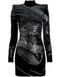 Balmain Embellished Fitted Short Dress - Black