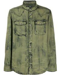 Balmain Джинсовая Рубашка С Эффектом Потертости - Зеленый