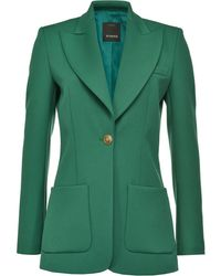 Pinko Front Buttoned Fitted Blazer - Green