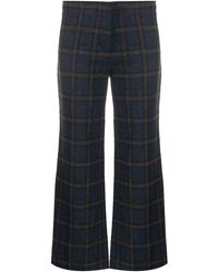 MASSCOB Check Patterned Flared Pants - Blue
