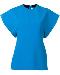 Victoria, Victoria Beckham Turquoise Short Sleeve Top