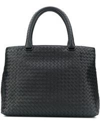 Bottega Veneta イントレチャート ハンドバッグ - ブラック
