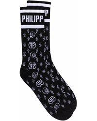 Philipp Plein Chaussettes à motif monogrammé - Noir