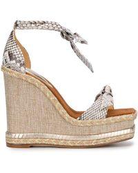 Alexandre Birman Clarita Square Wedge Sandals - Metallic